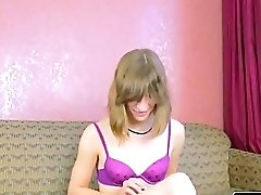 Unexperienced Milky Tranny Shows Her Stiff Man Meat
