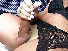 Tgirl Masturbates With A Banana And A Thick Fuck Stick