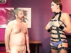 Domineering Bondage & Discipline Trans Queen Cums On Masculine Face