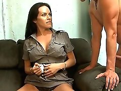 Enticing Black-haired Shemale Transsexual Foxxy Seducing Mark Frenchy