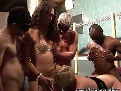 Inexperienced Orgy With Shemale Female And Guys