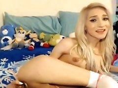 Gorgeous Petite Blonde Teenager Tranny Fucks Her