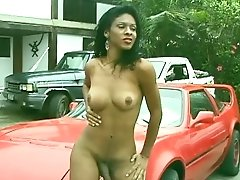 Hot Spanish Tranny Gets Fucked Outside On A Car, Gets A Facial Cumshot