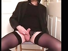 Tranny Playing With Little Wimp Shaft