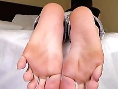 Pedicured Tranny Unexperienced Curls Her Toes
